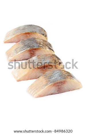 herring salt fillet - isolated pieces - stock photo