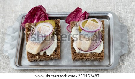 Herring sandwich with cucumber and soft cheese - stock photo