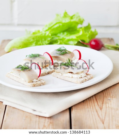 Herring Sandwiches  with ricotta cheese, radish and dill on toast - stock photo