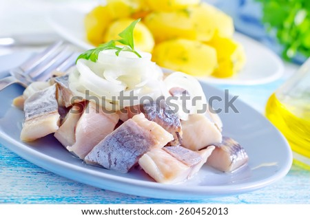 herring with onion on blue plate - stock photo