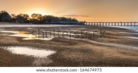 Hervey Bay Queensland is best known as the Gateway to the world heritage listed Fraser Island and as the Whale Watching Capital of the World.Also has a long pier called Uranga Pier - stock photo