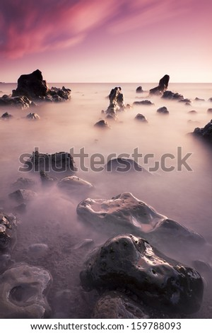 Hervideros beach in Lanzarote (Spain) - stock photo