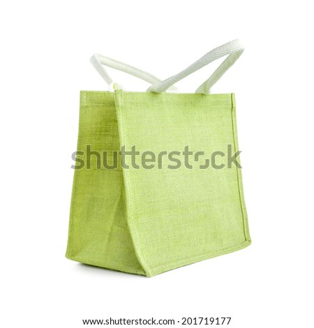 Hessian or jute bag - reusable green shopping bag with loop handles - isolated - stock photo
