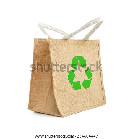 Hessian or jute shopping bag with recycle or reusable sign - stock photo