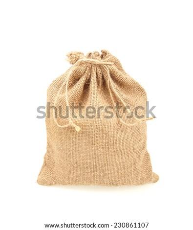 Hessian sack isolated on white background - stock photo