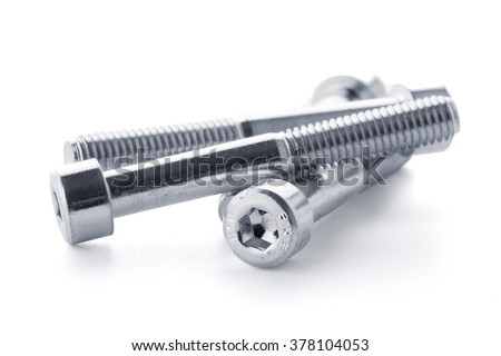 Hex head bolt screws thread on white background. - stock photo