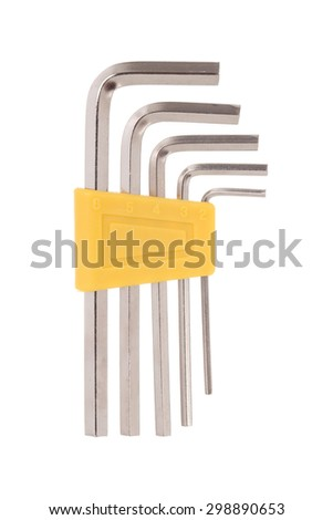 Hex wrench tool stainless on white background - stock photo
