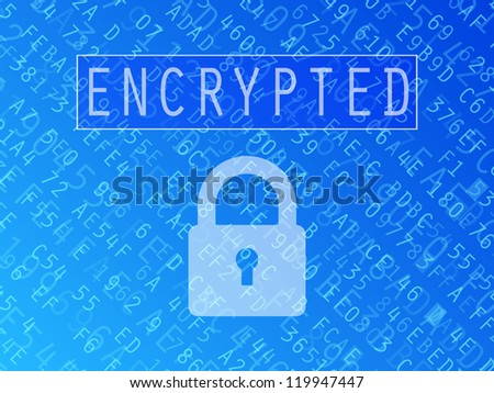 Hexadecimal numbers and letters with padlock symbol and Encrypted text background - stock photo