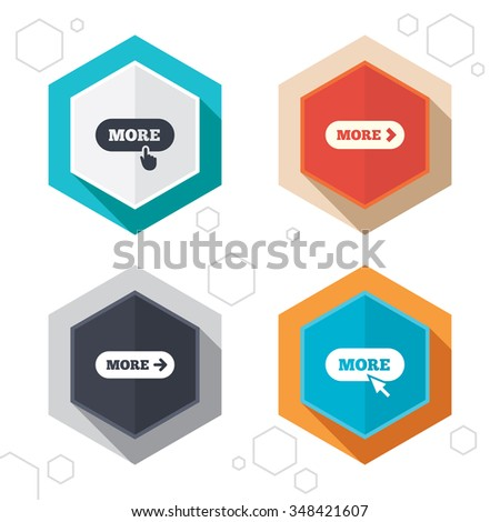 Hexagon buttons. More with cursor pointer icon. Details with arrow or hand symbols. Click more sign. Labels with shadow.  - stock photo