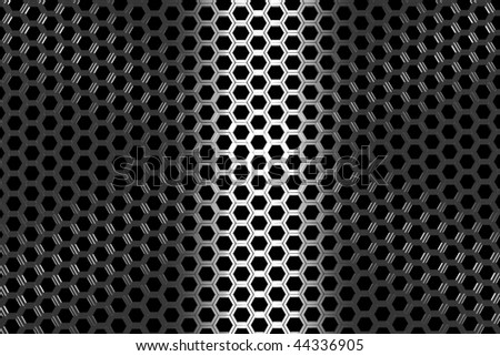hexagon metalic texture with light effect; 3d illustration - stock photo