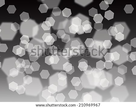 hexagon shapes in bokeh style on a black gradient background - stock photo