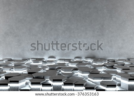 Hexagonal abstract background with illuminating floor and gray concrete wall - stock photo