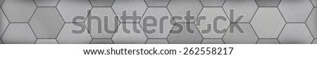 Hexagonal Aluminum Panoramic Metal Background (Letterbox Format)  - stock photo