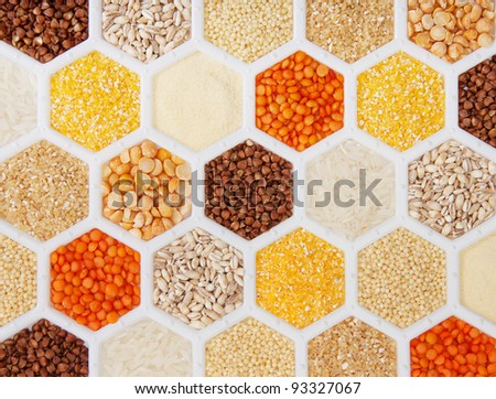 hexagons with different varieties of cereals. - stock photo