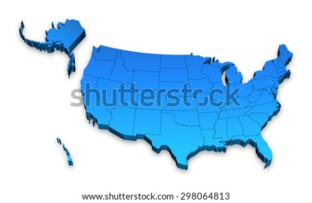 HI detail 3D Elevated map of the United states of America. - stock photo