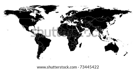 Hi detail real world map with territorial countries fragmentation - stock photo