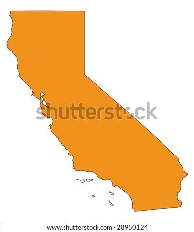 hi detailed isolated map of california, usa - stock photo
