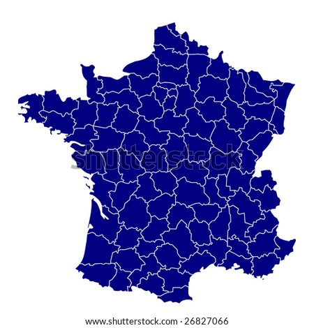 hi detailed map of france - stock photo