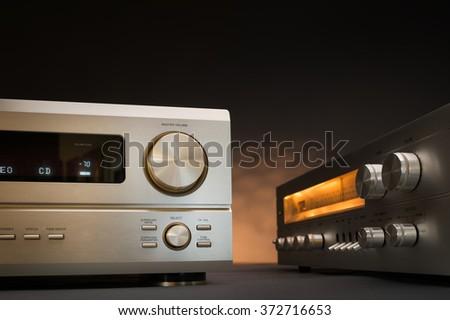Hi-Fi receivers in studio shot - stock photo