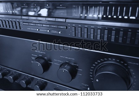 Hi-Fi stereo system close up - stock photo