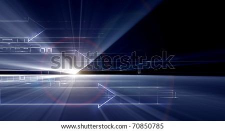 hi tech background abstraction from schematic drawing - stock photo