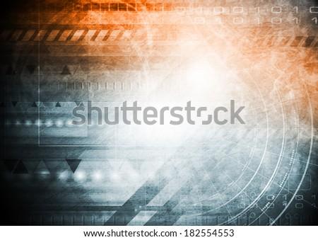 Hi-tech grunge blue and orange background - stock photo