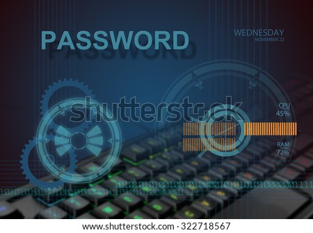 hi tech infographics of password made in 3d software - stock photo