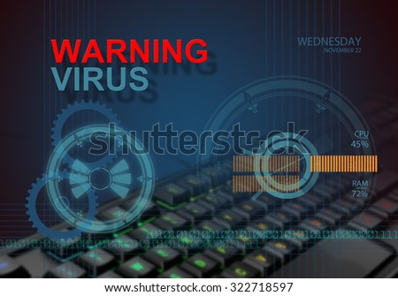 hi tech infographics of warning virus  made in 3d software - stock photo