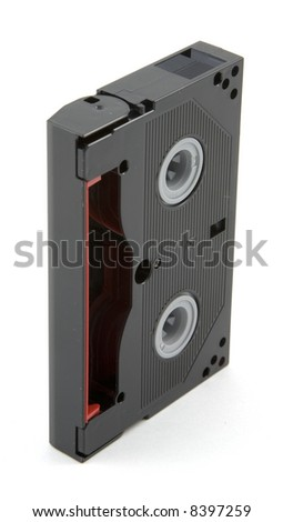 Hi8 video tape cassette on white background. - stock photo
