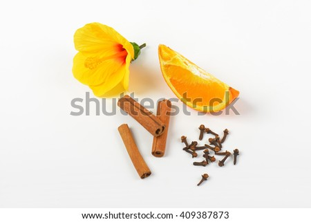 hibiscus, orange, cinnamon and cloves on white background - stock photo