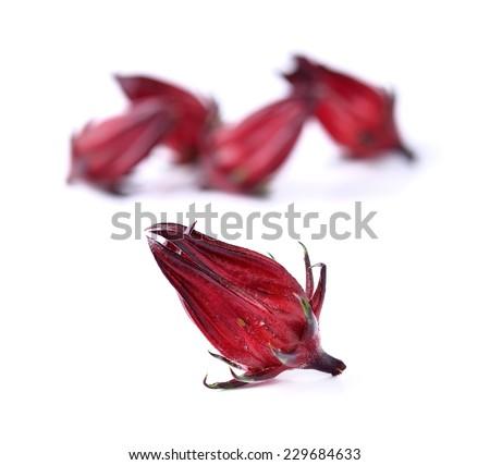 Hibiscus sabdariffa or roselle fruits ob white background  - stock photo