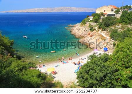 Hidden beach near the Adriatic sea, Senj, Croatia - stock photo