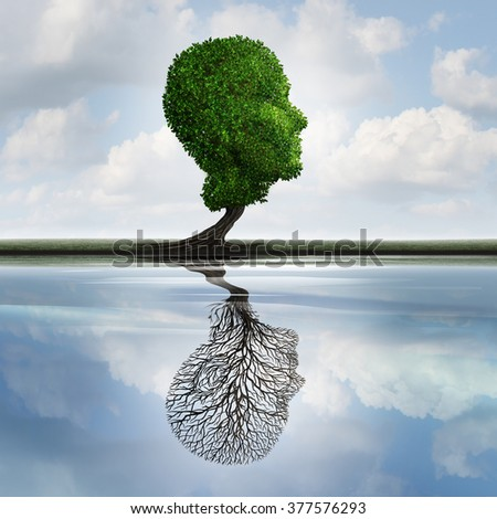 Hidden depression concept and private feelings symbol as a tree with leaves shaped as a human head with a reflection on water with an empty plant as internal psychology idea for concealed emotions. - stock photo