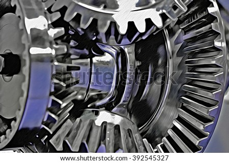 Hidden gears. Illustration of mechanism with shiny gears with textured oil painting effect. Abstract composition on the subject of engineering or technology. Metaphor of teamwork or business processes - stock photo