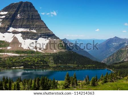 Hidden Lake in Glacier National Park, Montana - stock photo