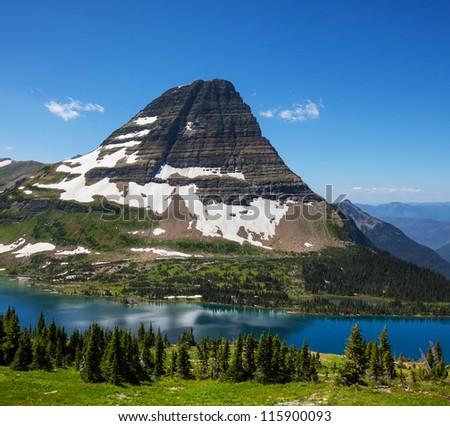 Hidden Lake in Glacier National Park, Montana. - stock photo