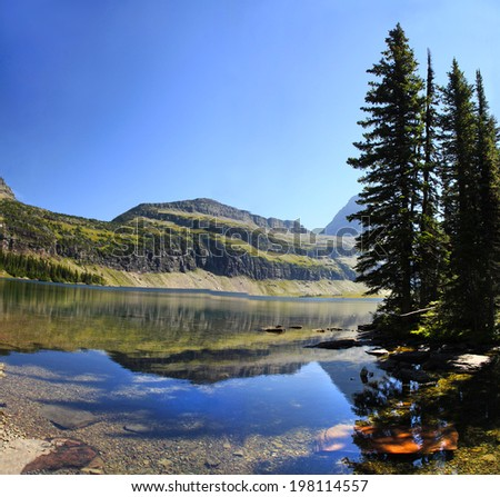 Hidden Lake in Glacier National Park, Montana - stock photo