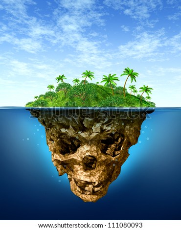Hidden Risk and false advertising concept with a beautiful tropical island on the sea contrasted with an under water shaped evil skeleton skull as a  symbol of dishonesty and dangers of fraud. - stock photo