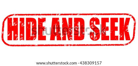 hide and seek stamp on white background. - stock photo
