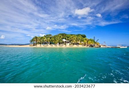 Hideaway Island--Beautiful tropical island in Vanuatu, South Pacific - stock photo