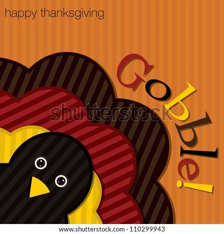Hiding turkey corduroy Thanksgiving card  - stock photo