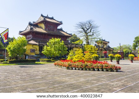 Hien Lam Pavilion in the To Mieu Temple Complex, Imperial City, Hue, Thua Thien-Hue Province Province, Vietnam - stock photo