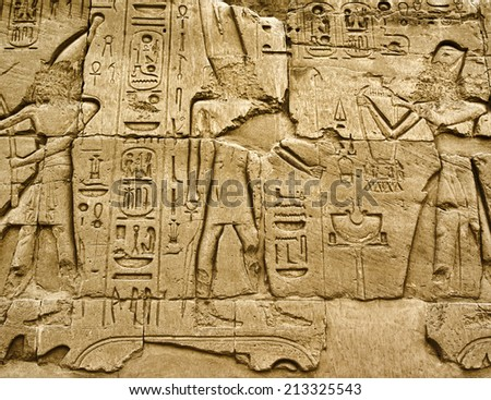 Hieroglyphic of pharaoh civilization in Karnak temple, Egypt - stock photo