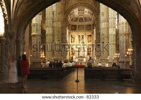 Hieronymus monastery, in Lisbon, Portugal - stock photo
