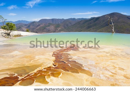 Hierve el Agua, thermal spring in Oaxaca (Mexico) - stock photo