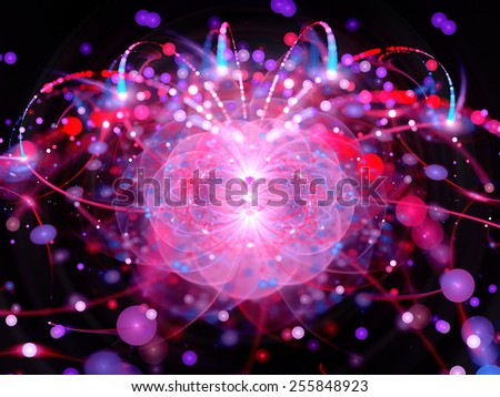Higgs boson in large hadron collider, computer generated abstract background - stock photo