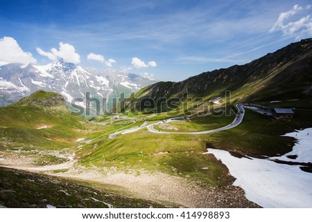 High alpine winding road, Grossglockner. Beautiful summer high mountain landscape. Sunny day in mountains, Austria - stock photo