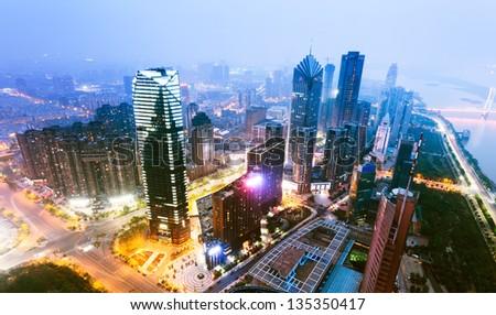 High-altitude city night scene - stock photo