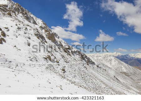 High-altitude road in the Himalayas - stock photo