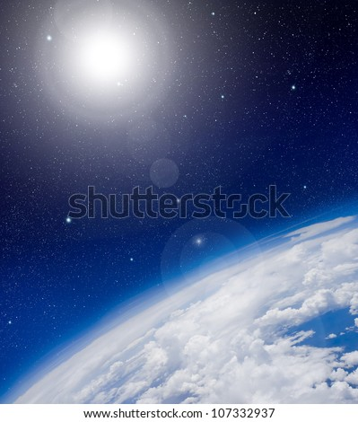 High altitude view between sky and space - stock photo